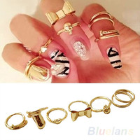 BE2A 7X Skull Bow Heart Nail Band Mid Finger Top Stacking Gold Plated Ring Set