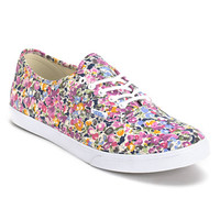 Vans Girls Authentic Lo Pro Violet & White Floral Print Shoe