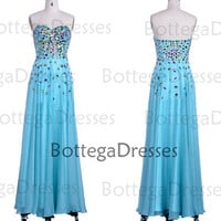 Blue Prom Dresses, 2014 Formal Dresses, Strapless Sweetheart with Crystal Chiffon Long Prom Dresses, Blue Formal Gown