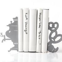 Bookends - Samovar - laser cut for precision these metal bookends will hold your favorite books SILVER
