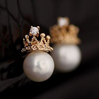 Crowned Pearl Statement Earrings