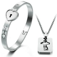 "Geminis Jewelry Fashion Stainless Steel Bracelet Eternal Love Heart Lock Bangle Key Necklace As Show Hong Kong TVB ""Triumph in the Skies 2"" Jewelry Set Never Fade and Anti-allergy 6.7 Inch Length 7mm Width 22g Weight New Design 316l Stainless Steel Clasp B"