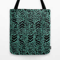 Up/Down (mint) Tote Bag by Nick Nelson