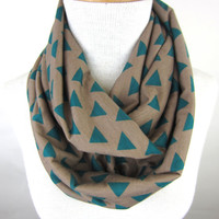 Triangle Print Scarf - Geometric Print Infinity Scarf - Teal and Tan Jersey Scarf
