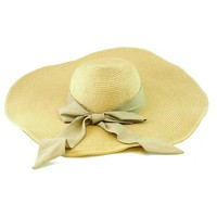 Straw Oversize Floppy Bow hat