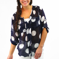 Dot My I's Blouse - Navy