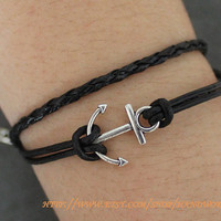 Anchor Bracelet Leather Bracelet by handworld