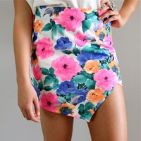 FLORAL SWIRL CUT IN POINTY FRONT WRAP HIGH WAISTED PENCIL TUBE SKIRT 6 8 10 12