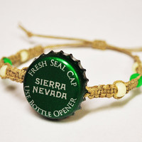 Green Sierra Nevada Beer Recycled Bottle Cap Hemp Bracelet, st. patricks day jewelry