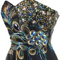 Meier Women's Strapless Peacock Embroidery Chiffon Gown