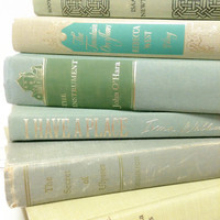 Decorative Old Books,Hemlock,Table Setting,Wedding Decor,Interior Design,Mint Green Books,Photo Prop,Vintage School Books,Interior Design