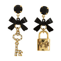 Betsey Johnson Iconic Heart Lock & Key Earrings Crystal/Black - Zappos.com Free Shipping BOTH Ways
