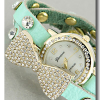 Mint Crystal Bow Bracelet Watch from P.S. I Love You More Boutique