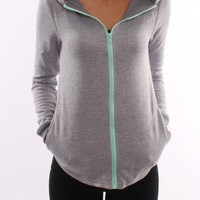 Hurley - Plain DRI-FIT Bandit Zip Fleece Heather Grey Mint - Hoodies - Shop by Product - Womens