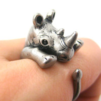 Rhino Rhinoceros Animal Wrap Around Ring: Silver Size 5 - 10 | DOTOLY