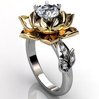 14k two tone white and yellow gold diamond unusual unique lotus flower engagement ring, bridal ring, wedding ring ER-1076-4