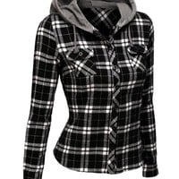 Doublju Contrast Hood Flannel Shirt With Chest Pockets BLACKWHITE (US-L)