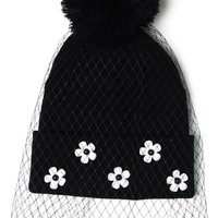 Net Covered Daisy Embellished Beanie Black