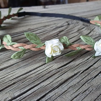 Flower Crown, Boho flower headband, White flower rose- festival flower hair band, wedding headband