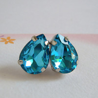 Ocean Blue Tear Drop Crystal Post Earrings, Pear Stone Studs Earrings