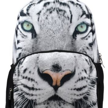 Veevan Designer 3d Animals Backpack (White Tiger)