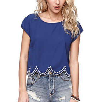 LA Hearts Embroidered Edge Scallop Shirt - Womens Shirts -