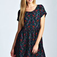 Becky Short Sleeve Paisley Smock Dress