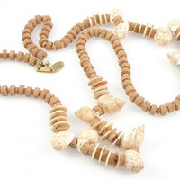 Vintage Miriam Haskell Shell & Cork Necklace