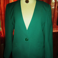 Amaizing Vintage Jones New York Jacket Green Lined Hot Wool Size 14 Made in USA