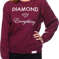 Diamond Supply Co Diamond Everything Burgundy Crew Neck Sweatshirt
