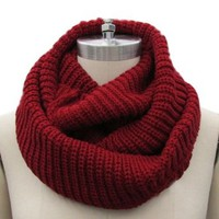 Christmas Unisex Winter Soft Knit Cowl Neck Infinity Warmer Long Scarf Shawl Wrap Burgundy