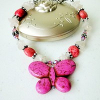 Hot Pink Silver Bracelet Howlite Butterfly Rose Quartz Stones | LittleApples - Jewelry on ArtFire
