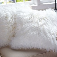 Faux-Fur Long Shaggy Ivory Pillow Cover, 18""