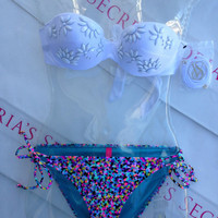 New Sexy Victoria's Secret Embellished Bandeau Bikini Set Mix and Match 32B 34B