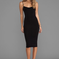 Free People Tea Length Seamless Slip Dress in Black