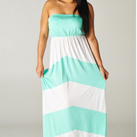 Plus Size Strapless Color Blocked Maxi.