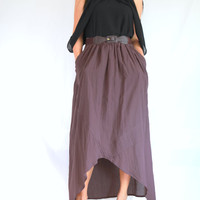 Dark Purple Maxi Skirt - High Low Skirt - Lagenlook Hot Maxi Skirt Unique Long Skirt Big Pockets Summer Maxi Skirt - SK003