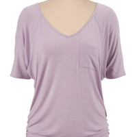v-neckl cinched side tee with pocket