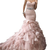 AISINI Sexy Strapless Wave Sweet Backless Fishtail Wedding Dress