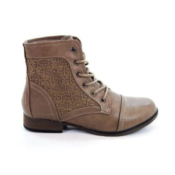 Lace Up Vintage Military Combat Bootie w/ Crochet Detail - Steam Punk