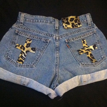 Gold Leopard Print Cross Shorts