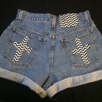 Black and White Chevron Cross Shorts