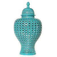 Decorative Porcelain Accessories | Aquamarine Filigree Urn | Z Gallerie