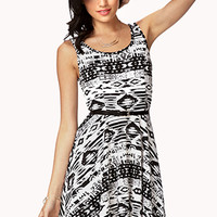 Tribal Print Skater Dress w/ Belt