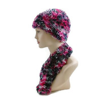 Hand Knit Pink Poodle Boa Hat and Scarf