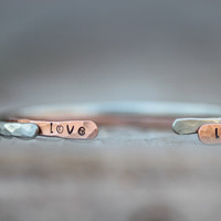 Gift for Her TWO Love Life Stacking Bangle Bracelet Silver Copper CUFFS Textured Oxidized SKINNIES Boho Chic Fall Fashion Cute Hipster