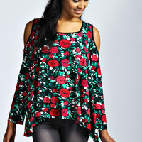 Serena Floral Cut Out Shoulder Top