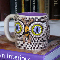 OOAK OWL MUG Large Ceramic Entirely Handmade Cofee Tea Cup / Romantic Valentine's Day Gift Idea / radiant orchid lilac purple violet brown