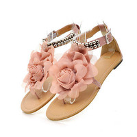 Romantic Womens/ladys Silk Flower Metal Beads Flats T-Strap Sandals Shoes All Sz