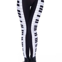 Romwe Women's Piano Keyboard Patterns Print Color Contrast Polyester Leggings